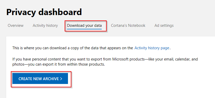 downloading a backup of data appearing in Microsoft account management