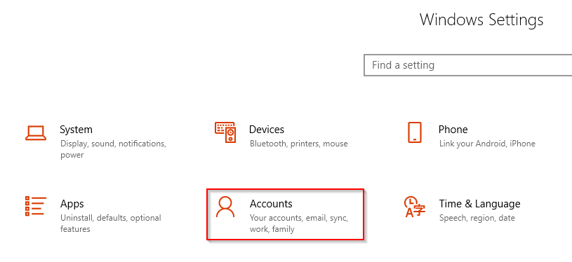 Accounts settings in Windows 10