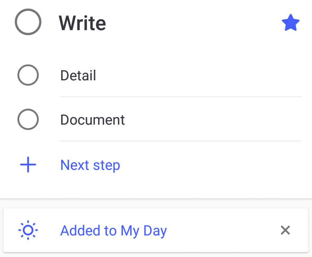 adding sub steps to task in Microsoft To-Do app
