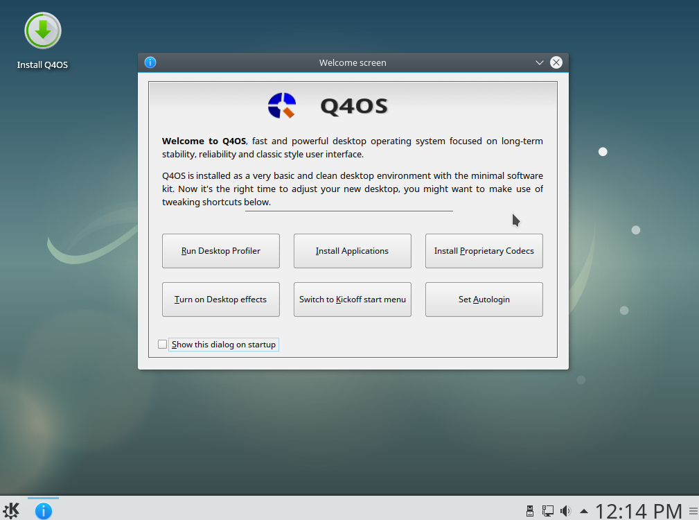 Q4OS welcome screen in live environment
