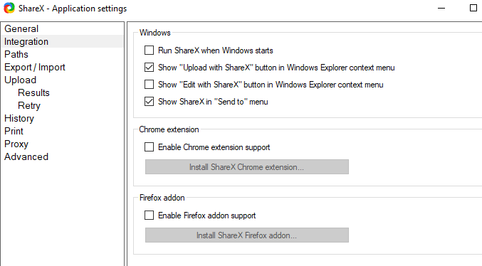 ShareX application settings