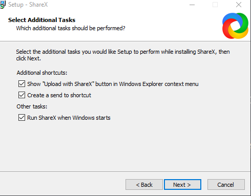 ShareX Windows integration options during setup