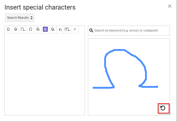 drawing and searching for special characters in Google Docs