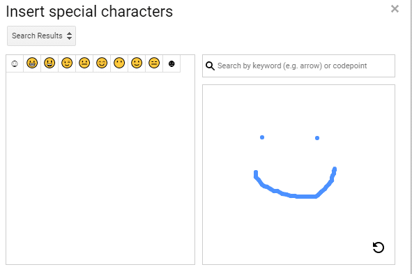 searching for emojis by drawing in Google Docs