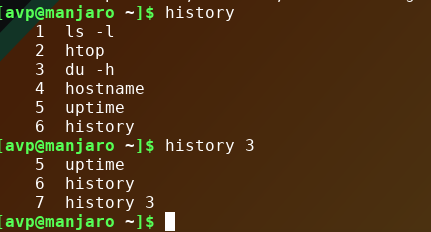 seeing last 3 commands from history