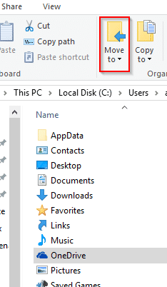 moving OneDrive folder to another location than default