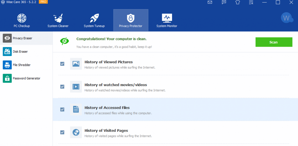 clear history of recently accessed files and other privacy settings using Wise Care 365 Pro