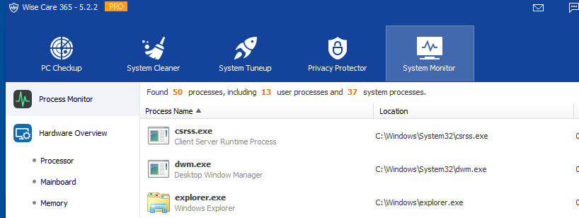 managing running Windows processes and hardware monitoring in Wise Care 365 Pro