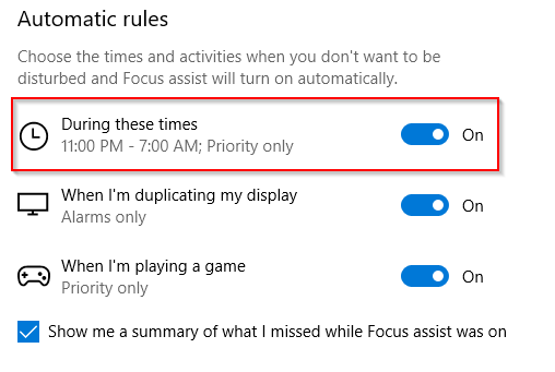 Enable focus assist during specific times with priority only
