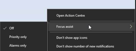 enable focus assist from Windows 10 system tray