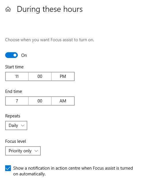 changing focus assist hours in Windows 10