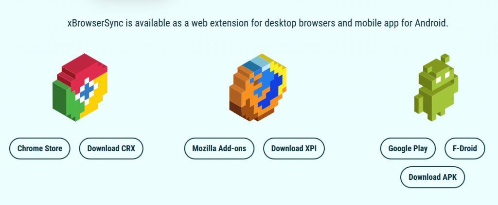download page for xBrowserSync
