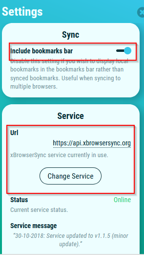 changing sync service url in xBrowserSync