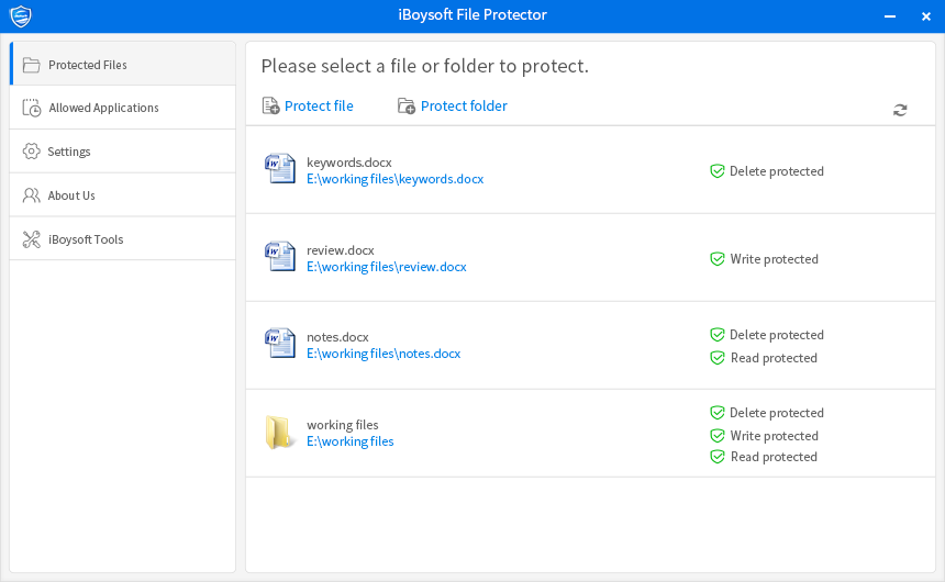 using iBoysoft File Protector