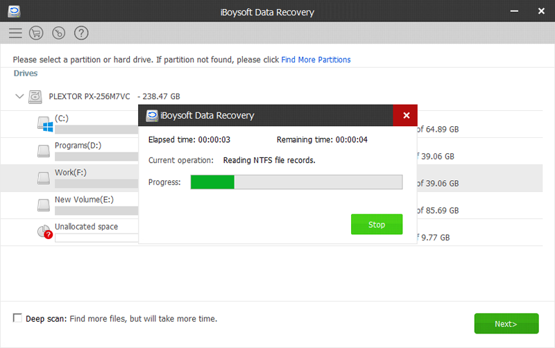 scanning and recovering lost data using iBoysoft Data Recovery