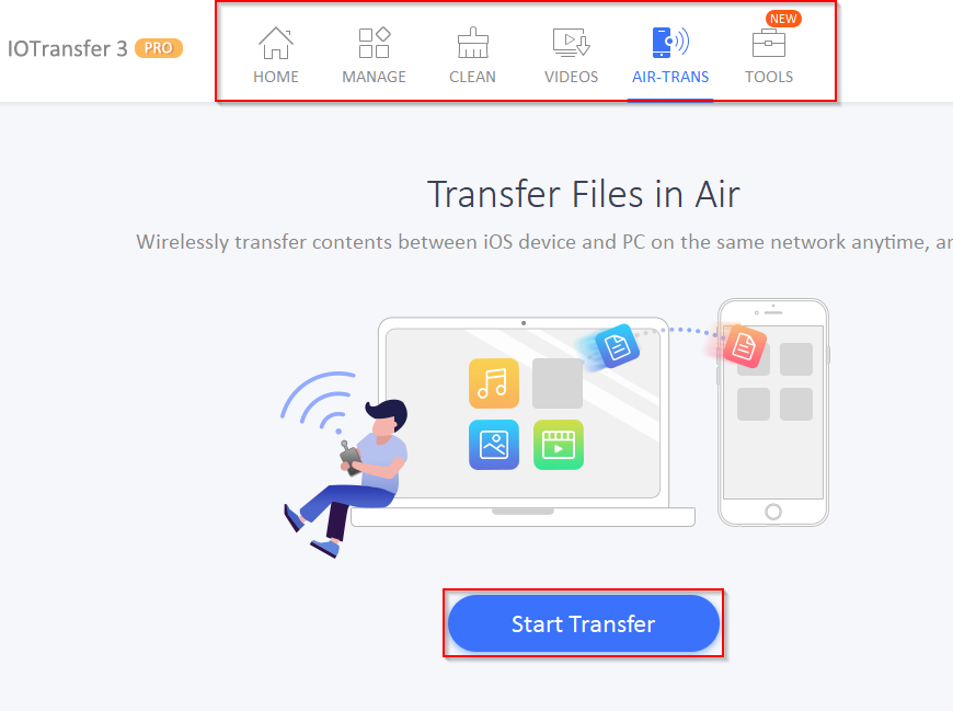using Air-Trans to wirelessly copy files in IOTransfer 3