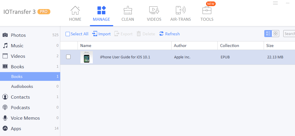 copying books from iPad to PC using IOTransfer 3