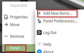 adding new items to Linux Mint panel