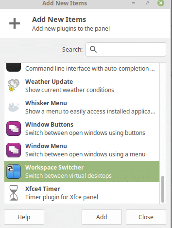 adding Workspace Switcher to Linux Mint panel