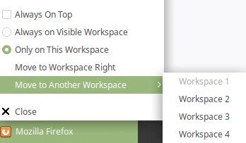 moving windows and open applications to another workspace in linux mint 19