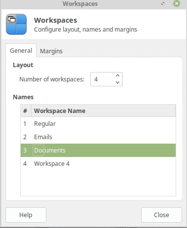 adding and renaming workspaces in linux mint 19