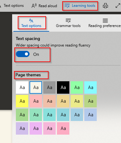 various Learning tools in Edge browser
