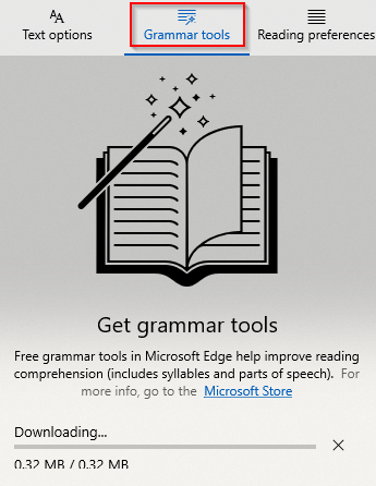downloading and using Grammar tools in Edge