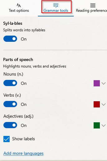 enabling Syllables and Parts of speech option from Grammar tools in Edge