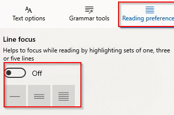 Using Line focus to split lines in Edge browser when reading