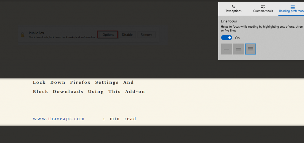 Line focus option enabled for webpage with grouping of 5 lines at a time