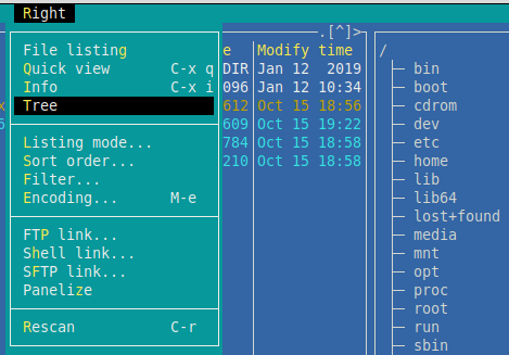 configuring pane options in Midnight Commander
