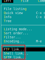 choosing FTP connection for remote file manager using Midnight Commander