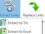 extracting links from PDF documents in Excel or text format