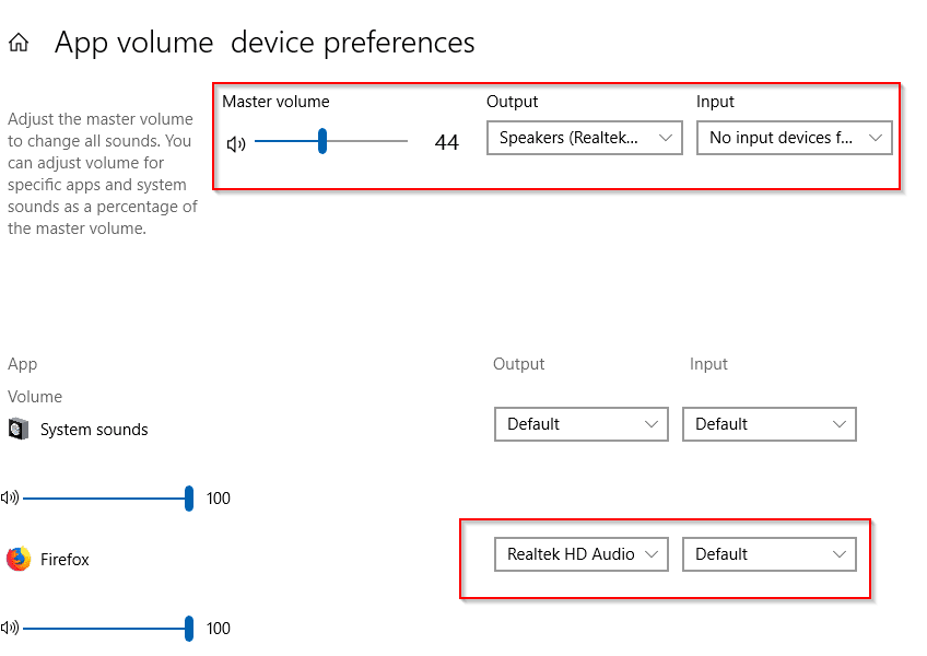 setting the audio playback device per app basis in Windows 10