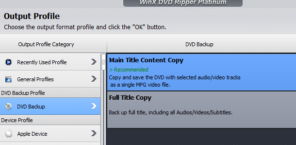 profile for DVD copying and backup in WinX DVD Ripper