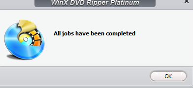 conversion to MP4 completed using WinX DVD Ripper