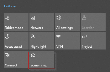 Screen snip in Windows 10 Action Center