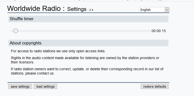Worldwide Radio add-on shuffle timer settings