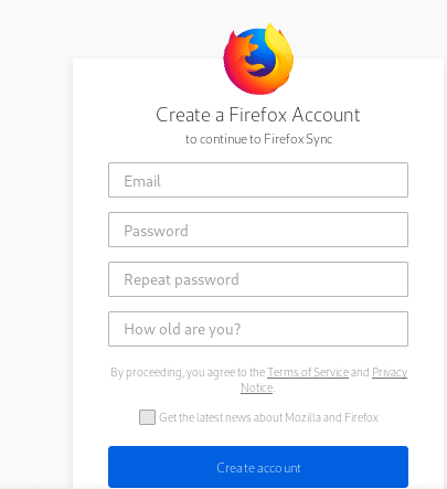 details to fill up for a Firefox Sync account
