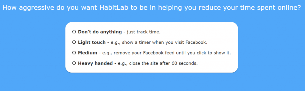 range of settings for restricting time during online browsing in HabitLab