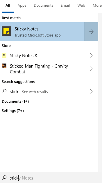 accessing Sticky Notes in Windows 10