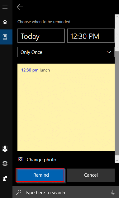 setting Cortana reminder for Sticky Notes