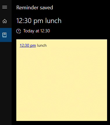 Sticky Notes reminder saved in Cortana