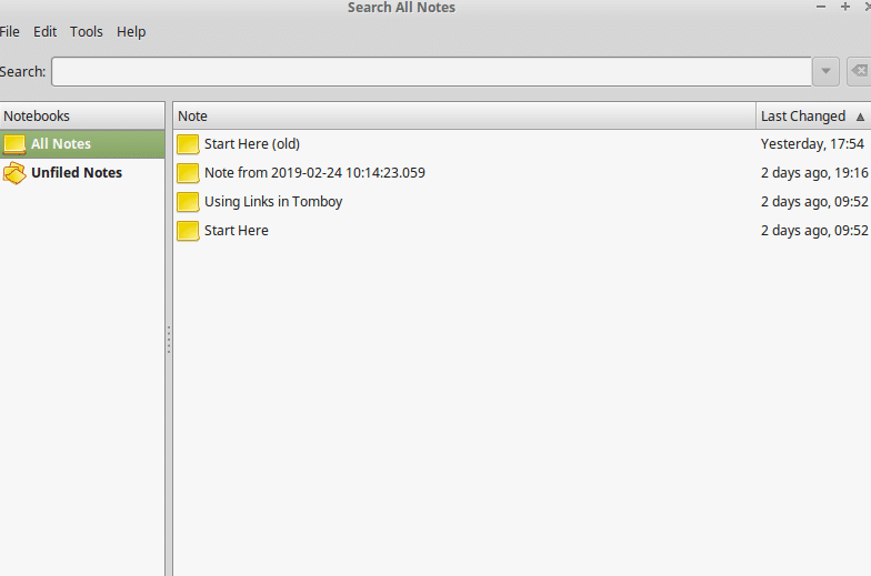 TomBoy Notes in Linux Mint