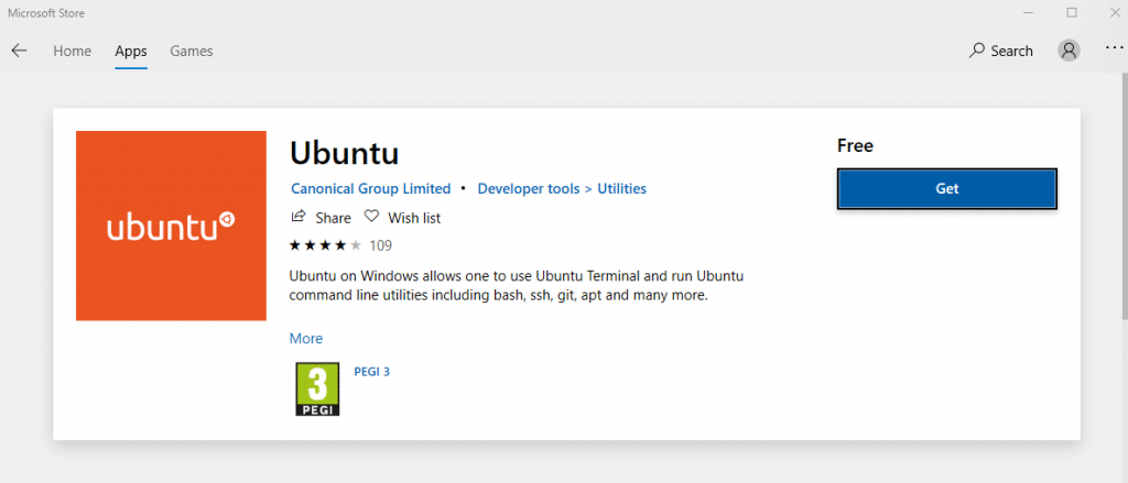 Ubuntu Terminal available from Microsoft Store