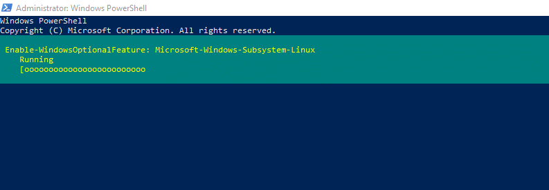 installing WSL through Windows Powershell in admin mode