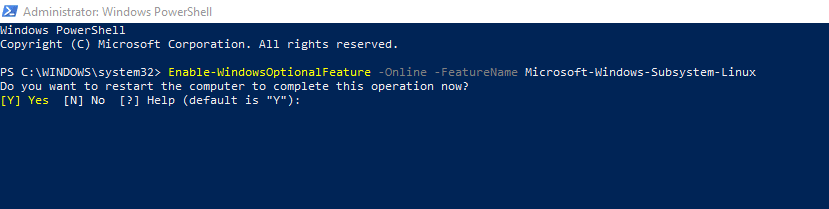 installation of WSL completed in Windows 10