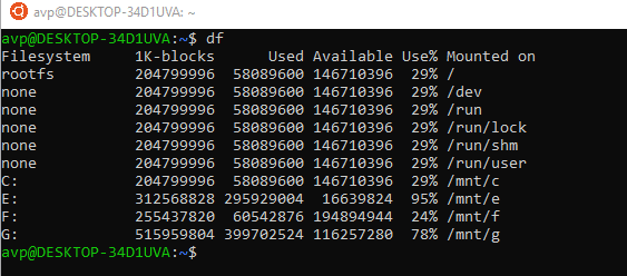 df command to see disk usage from Ubuntu Terminal in Windows 10