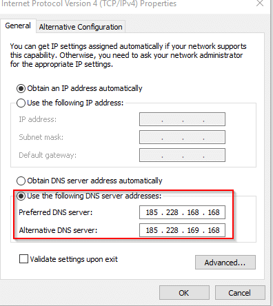 changing DNS server IP addresses to enable CleanBrowsing Family filter
