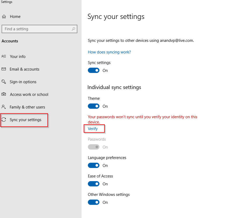 passwords not synced by default when signed into a different Windows 10 device using the same account